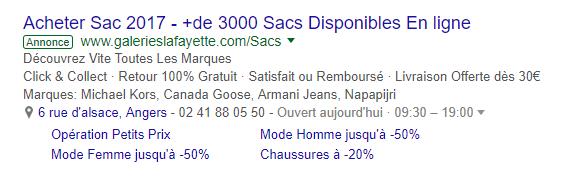 Annonce Google Adwords des Galeries Lafayette.