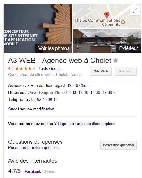 Fiche Google My Buisiness de l'agence A3 Web.