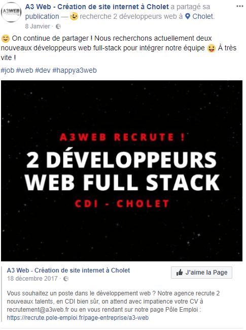 Recrutement Facebook de deux développeurs full-stack de l'agence A3 Web de Cholet.
