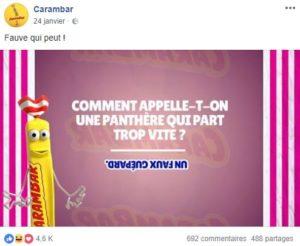 Contenu ludique proposé par Carambar sur Facebook.