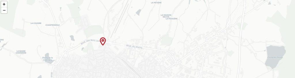 Carte OpenStreetMap personnalisée avec pictogramme rouge.