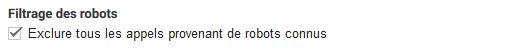 Le filtre des robots dans Google Analytics