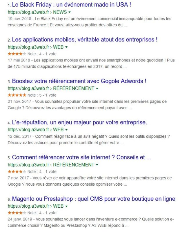 Affichage des étoiles dans les résultats de recherche Google
